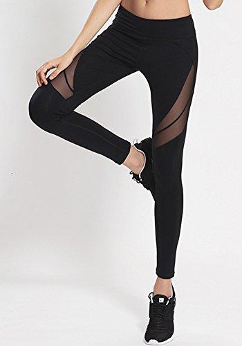 Pantalones Mujer Deporte Yoga Pantalón de Malla Chandal Fitness Femenino Negro
