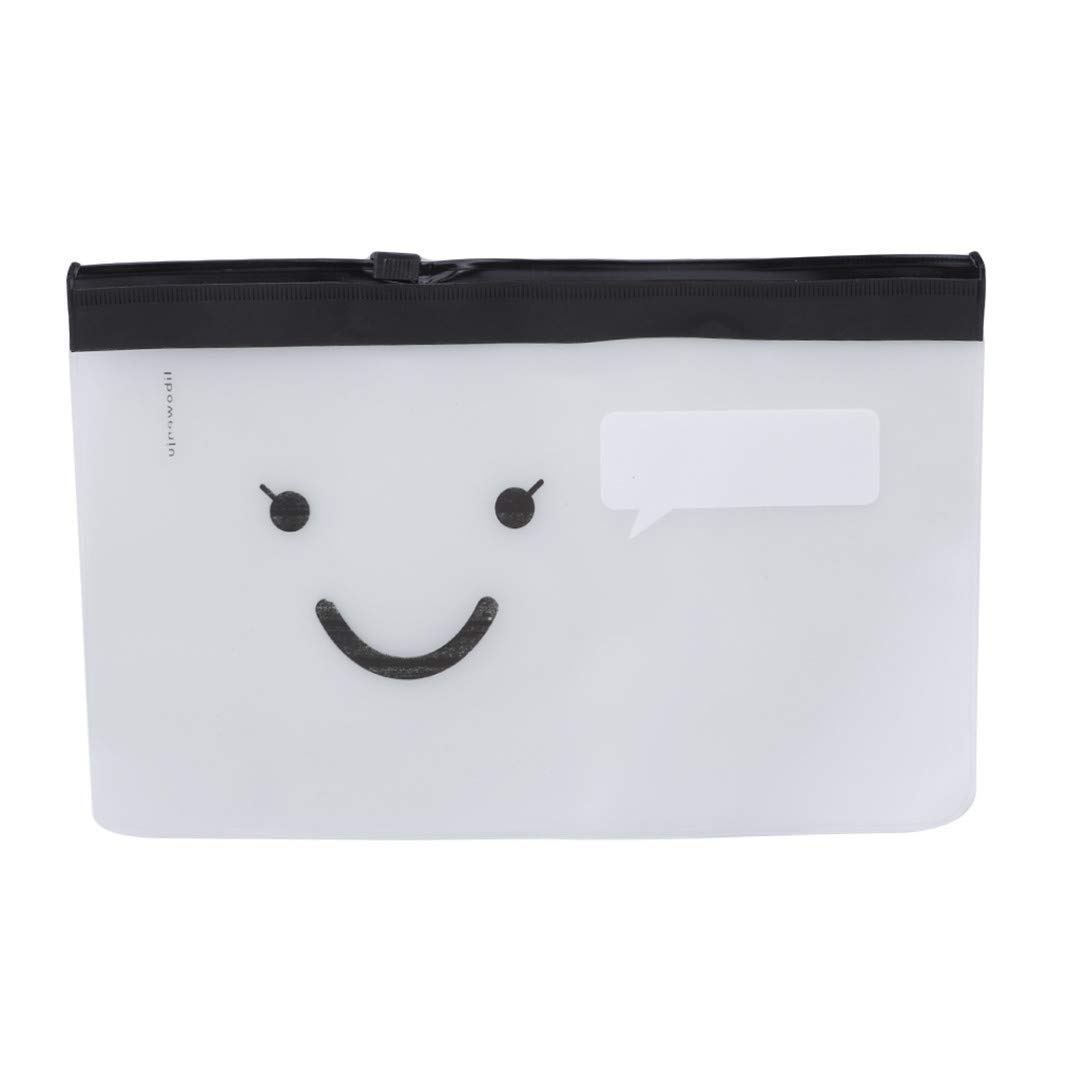 YouCY Pencil Case Cute Bearded Smiley Face Transparent Storage Bag Simple Student Scrub Stationery Bag Pulled Stationery Bag,Smiley Face