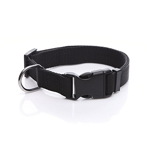TAIDA Durable Adjustable Nylon Dog Collar, 1 Inch Wide, for small medium Dogs(Black) -
