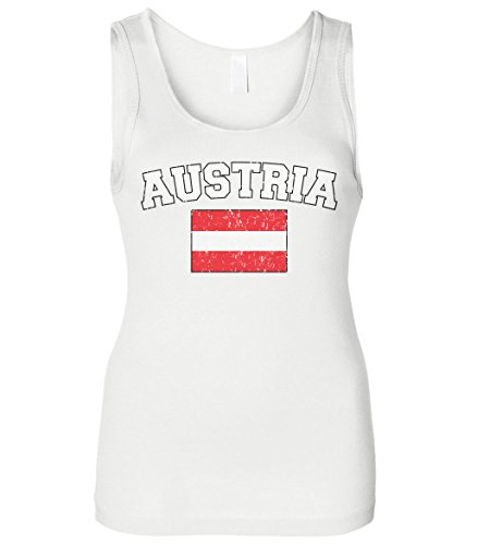 (Cybertela Women's Faded Distressed Austria Flag Slim Fit Tank Top (White, Large))