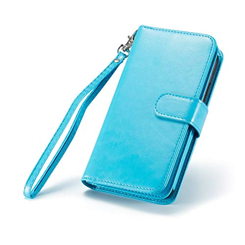 iPhone XR(6.1 inch) Wallet Case,Premier Synthetic Leather Vintage Design Folio Flip [9 Credit ID Card Slots] Cash Holder Magnetic Closure with Detachable Case for iPhone XR,2018 (Blue)