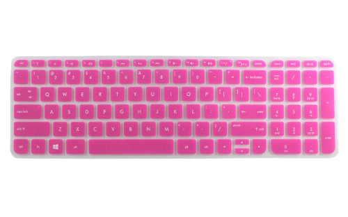 AutoLive Semi-Transparesnt Ultra Thin Soft Silicone Gel Keyboard Protector Skin Cover for 15.6-Inch HP Pavilion ENVY series with AutoLive Card Case for Credit, Bank, ID Card (Semi-Hot Pink)