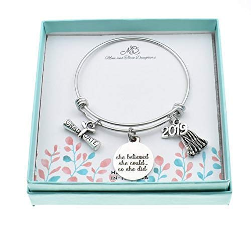 2019 Graduation Gift Teens or Womans Graduation Bangle Bracelet She Believed She Could So She Did And 2019 Graduate Charms