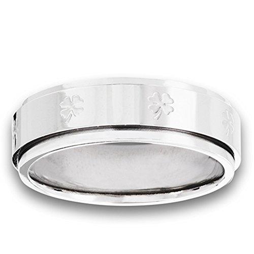 Spinner Shamrock Four Leaf Clover Ring New Stainless Steel Band Size 16 (Stainless Steel Shamrock Ring)