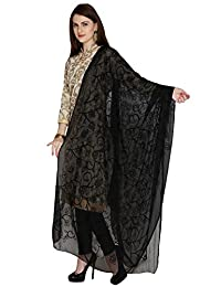 Dupatta Bazaar Woman's Embroidered Black Chiffon Chunni,Dupatta, Stole with Lace Border