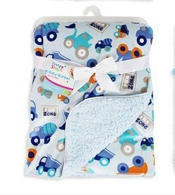 Baby Blanket Soft Colourful Mink Sherpa Lining Printed Design 0months+ 30° Wash - Blue Trucks