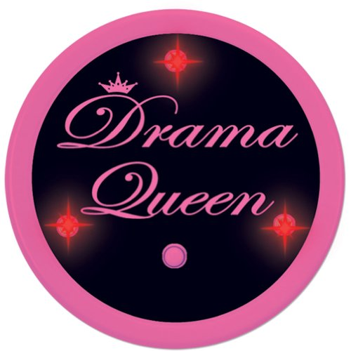 Flashing Drama Queen Button Party Accessory (1 count) (1/Pkg)