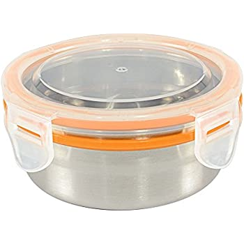 Mighty Hippo Round Stainless Steel Snack Container - Leak Proof / Dishwasher Safe / Reusable / Food Safe / Lunch Box / Adult and Kid Friendly / Metal / BPA Free