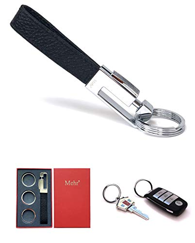 Mehr 3048s Leather Valet Keychain - Detachable Key Chain & Keyrings (Black)
