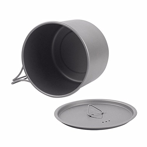 3 in1 Ultralight Titanium Pot Outdoor Camping Titanium Bowl Cup 550ml (Alpine Stove Chef Camp)