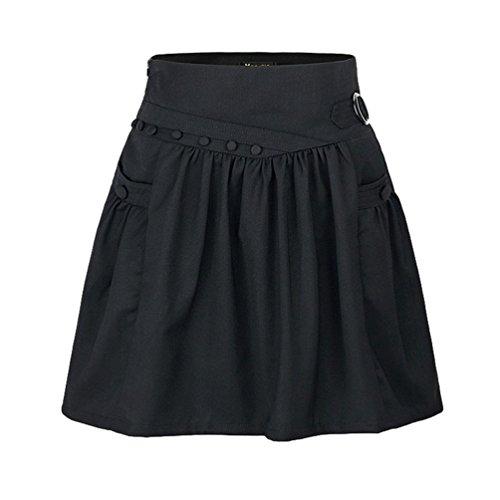 ZhiYuanAN Femme A Ligne Jupe Taille Haute Grande Taille Plisse Midi Jupe Casual Couleur Unie Patineuse Jupe Genoux Mince Noir