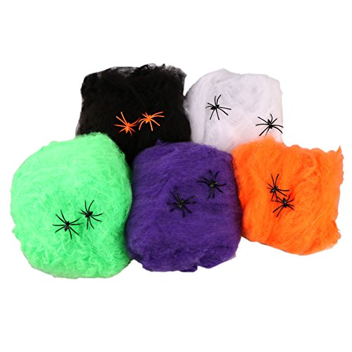 Livingly Light Party Supplies Super Stretch Spider Webbings Spooky Simulated Multi-Color Cotton Web of Halloween Decorations, 1 Package include 2 Little (Jason Voorhees Animatronic)