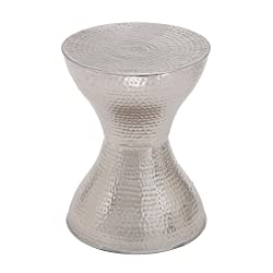 Deco 79 22036 Industrial Hourglass-Shaped Metal Accent Table, 18 H x 14 L, Textured Silver Finish