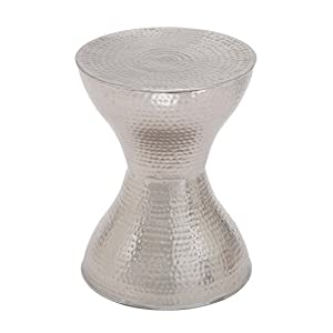 """Deco 79 22036 Industrial Hourglass-Shaped Metal Accent Table 18"""" H x 14"""" L Textured Silver Finish"""