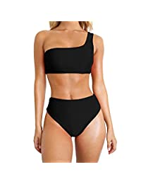 Junshion Swimsuit Women Sexy Bikini Set One Shoulder Swimwear Push-Up Padded