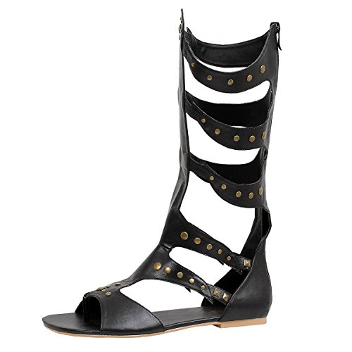 Ancient Roman Shoes (Men's Gladiator Knee-High Caged Sandal with Rear Zipper and Rivet detail Black Size: Medium)