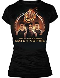 The Hunger Games 2: Catching Fire Trio with Spark Quote Juniors Black T-Shirt