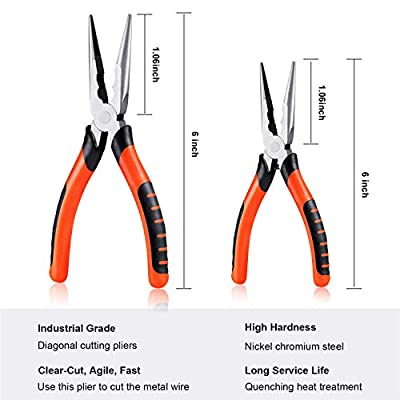 2 Pieces 6 and 8 Inch Needle Nose Pliers Fine Nippers Long Needle Nose Pliers with Anti-Slip Handles Nose Pliers for Remove Jewelry Making Tool