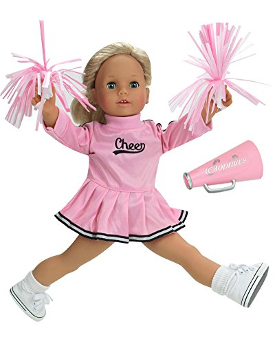 18 Inch Doll Cheerleader Clothes by Sophias, Fits American Girl Dolls, Doll Cheerleader Dress Outfit Set with Pom Poms, Plus Megaphone
