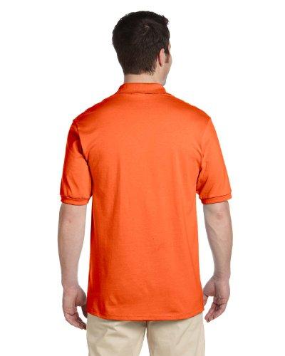 Knit Button Band - Jerzees Men's 2 Button Placket Welt Knit Collar Polo Shirt, Large, Safety Orange