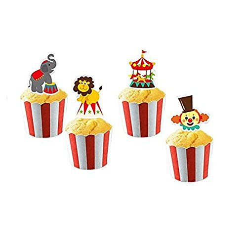 Circus Animal Cake Cupcake Toppers and Wrappers for Party Carnival Decorations 24 Cake Toppers and 24 Wrappers By PROPARTY ()
