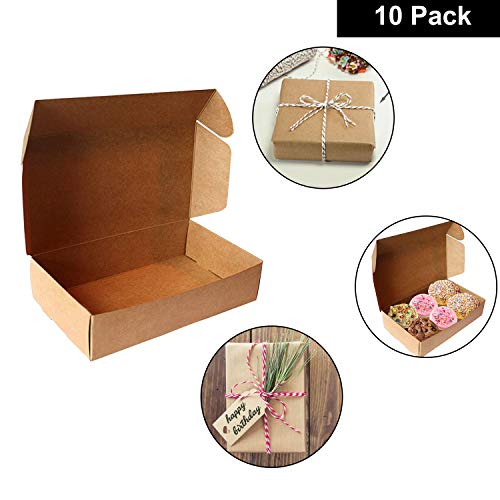 Kurtzy Kraft Brown Gift Boxes 10 Pcs - 19 x 11 x 4.5cm Kraft Presentation Boxes - Large Folding Lid Flat Pack Carton Gift Boxes for Wedding, Party, Cookies, Candies, Jewellery
