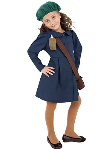 World War 1 Children's Costumes (Smiffy's World War II Evacuee Girl Costume, Dress, Hat and Bag, Ages 10-12, Size: Large, Color: Blue, 38651)