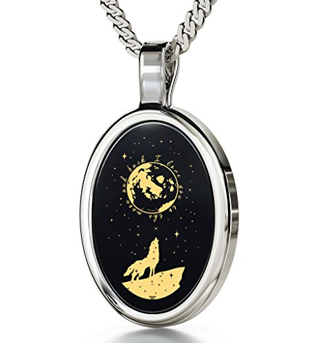 Nano Jewelry 925 Sterling Silver I Love You to The Moon and Back Necklace Wolf Howling 24k Gold Inscribed Onyx, 18