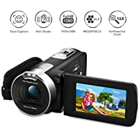PRIKIM 1080P FULL HD Portable Digital Video Camera 2.7 TFT LCD 24MP 16x Zoom Camcorder DV AV Output Night Light Black