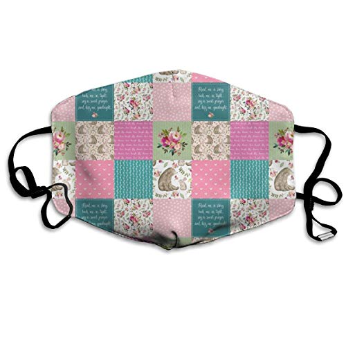 Bear U0026 Bunny Patchwork Quilt - Woodland Floral Pink + Teal Wholecloth Best Friends Coordinate for Girls GingerLous Anti Dust Mask Anti Pollution Washable Reusable Mouth Masks