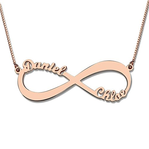 c6b9352c52236 Amandasessom Personalized Infinity Necklace Two Name Necklace Silver Lover  Necklace Jewelry Rose Gold 14