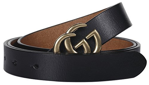 Black Thin Buckles - Fashion Designer Gold G Buckle Very Slim Thin Belt With Tiny Buckle for Women Lady (2.5cm Belt Width/3cm Buckle) (95cm (Waist 27