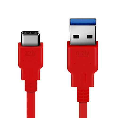 Orzly- New Certified USB 3.0 USB-C to USB-A Male Data & Charging Cable (3A/5V) - For Use With OnePlus 2, Nexus 5X & 6P, Lumia 950 & 950 XL, and Other Type-C Supported Devices (1M, RED)