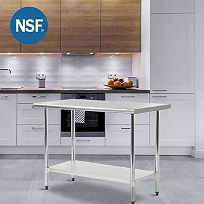 FDW Mesa de Trabajo Metal para Cocina con pie de Mesa Ajustable ...