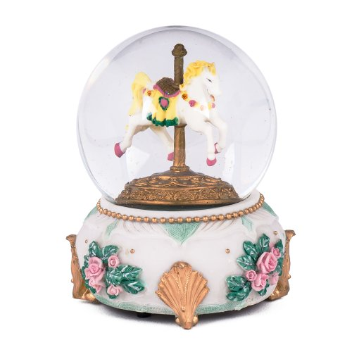 Carousel Horse Glass Musical Snow Globe Plays Song Love Makes the World Go Round - Mom Snow Globe