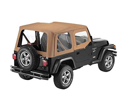 Bestop 79120-37 Spice Sailcloth Replace-A-Top Soft Top with Clear Windows and Upper Half Door Skins for 1988-1995 Wrangler YJ