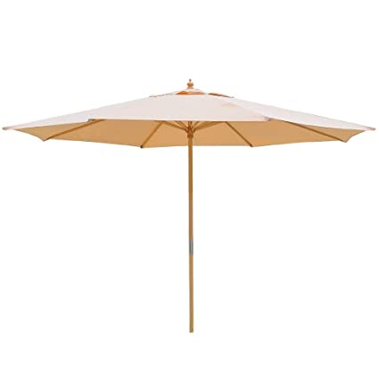 13ft Beige Patio Umbrella XL 8 Ribs w/German Beech Wood Pole UV Protection UV30+  sc 1 st  Amazon.com & Amazon.com : 13ft Beige Patio Umbrella XL 8 Ribs w/German Beech Wood ...