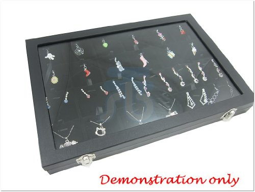 (Glass Top Lid Black Velvet 24 Comparments Jewelry Display Box for Pendants, Charms )