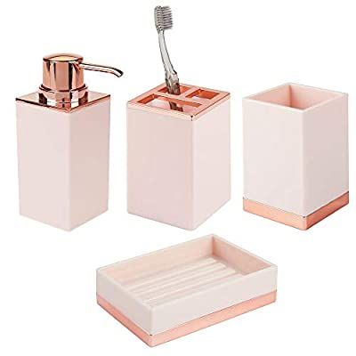 mDesign Square Plastic Bathroom Vanity Countertop Accessory Set - Includes Soap Dispenser Pump, Divided Toothbrush… - 4 PIECE SET: Includes a tall soap pump - fill with your favorite liquid soap solution or hand sanitizer; It is easy to refill, just unscrew the top - the wide mouth makes refills easy; The tumbler cup is perfect when you need a drink of water, a rinse after brushing or use it to contain large toothpaste tubes and spin toothbrushes; The divided toothbrush stand has 3 sections to keep toothbrushes secure; The soap dish has ridges to keep water away and extend the life of your soap STYLISH STORAGE: Organize and enhance your bathroom quickly and effortlessly with this vanity set; This set provides you with everything you need to outfit your bathroom sink; Use the items all together in larger bathrooms or use the pieces separately when space is limited or your needs change; The items will provide storage for daily essentials and the high-quality materials and finishes will complement your home decor FUNCTIONAL & VERSATILE: The square designs work well in large or smaller bathrooms, use all the pieces together in master or family bathrooms, use pieces individual for half and smaller guest bathrooms; The pump can be used in the kitchen, laundry room or next to any sink; Create a fashionable storage container for makeup brushes and other beauty tools using the cup; The toothbrush holder is also great for beauty tools - hold eyeliner, lip pencils, lip glosses, orange sticks and nail files - bathroom-accessory-sets, bathroom-accessories, bathroom - 41g6nBPunTL. SS400  -
