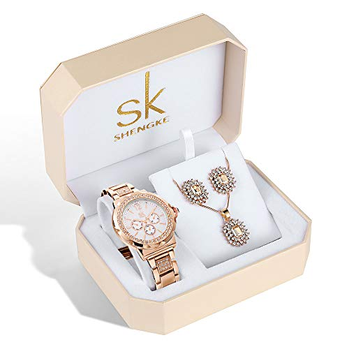 Women Watch Sets 3 Piece Jewelry Gift Set Quartz Wrist Watches with Earring and Necklace Christmas Valentine's Day Gifts (K0032 RG Set) from sk SHENGKE