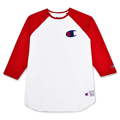 Champion Mens Big and Tall Raglan Baseball T Shirt with 3/4 Sleeve and Big C Logo White/Red 3X (Out Sleeve T-shirt Raglan 3/4)