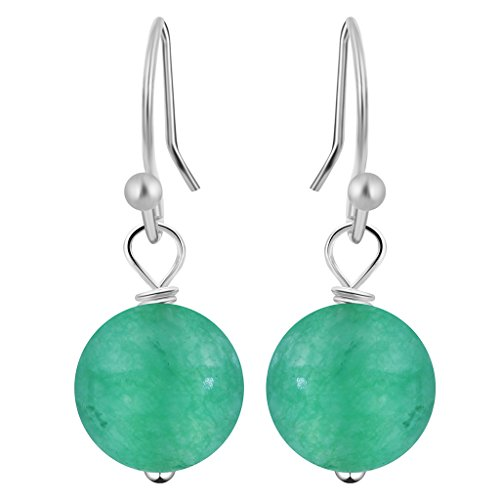 Natural Green Dyed Crazy Lace Jasper Earrings on French Wires Women Jewelry