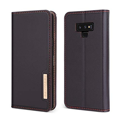 BENTOBEN Genuine Leather Galaxy Note 9 Wallet Case, Heavy Duty Rugged Protective Phone Case Cover with Flip Kickstand Credit Card Slot Cash Holder for Samsung Galaxy Note 9, Brown