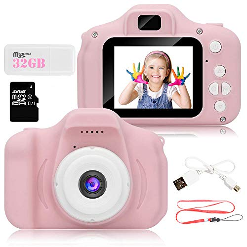 Kids Digital Video Camera for Girls 3-10 Years Old,8.0MP Rechargeable Camera Shockproof 1080P HD Cameras Camcorder for Girls Kids Toddler Indoor Outdoor Travel(32GB Memory Card Included) (Pink)