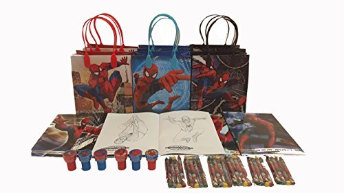 (Marvel Spider Man party favor set pack w/coloring book)