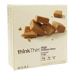 thinkThin High Protein Bar, Caramel Fudge, 10 pk 2.1 oz (60 g)