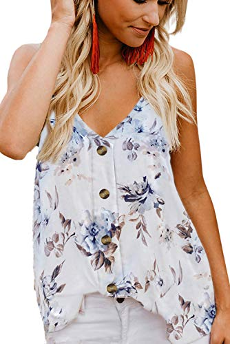 - HOTAPEI Womens Plus Size Tank Tops Summer Cute Sexy V Neck Chiffon Floral Printed Button Front Spaghetti Strap Loose Fit Tank Tops Tie Knot Sleeveless Cami Top Shirts Blouses XXL