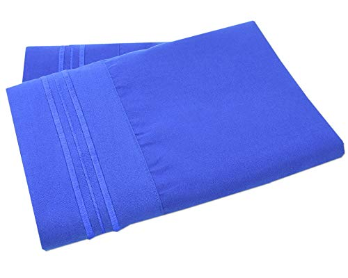 Mezzati Luxury Two Pillow Cases - Soft and Comfortable 1800 Prestige Collection - Brushed Microfiber Bedding (Royal Blue, Set of 2 Standard Size Pillow Cases) (Prestige 16 Collection Light)