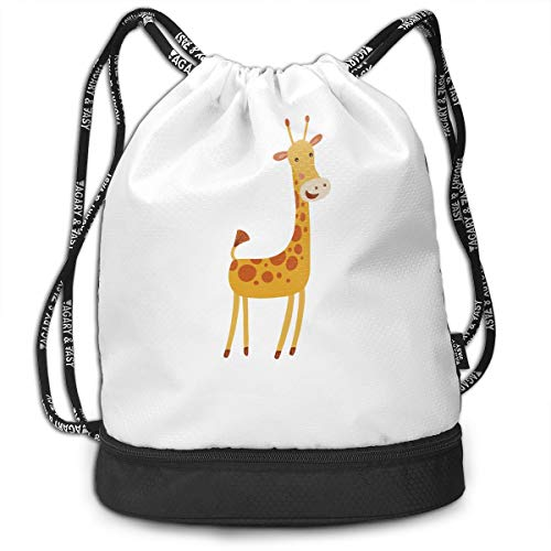- Funny Dance Gift Unisex Drawstring Fashion Beam Backpack Giraffe Print Backpack Travel Gym Tote Cosmetic Bag