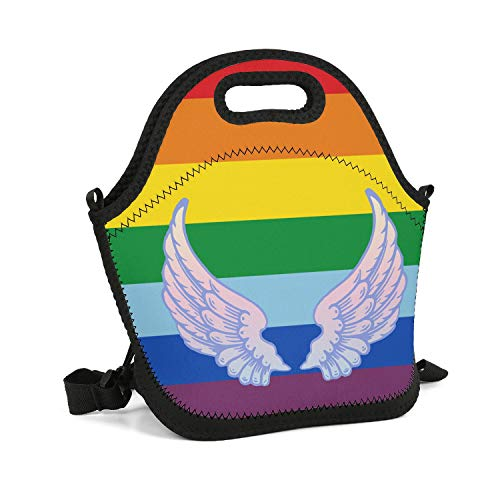 Milr Gile Custom Lunch Box Baby Angel Wings Rainbow Art Resuable Insulated Thermal Tote Lunch Bag